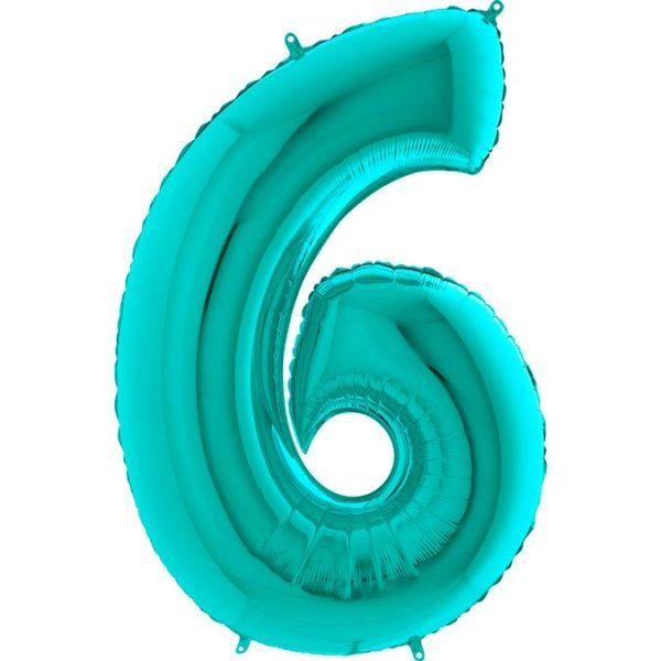 Фольгированный шар тиффани в форме цифры шесть. Размер 1 метр.