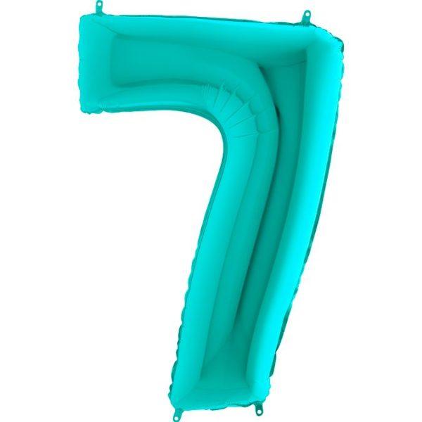 Фольгированный шар тиффани в форме цифры семь. Размер 1 метр.