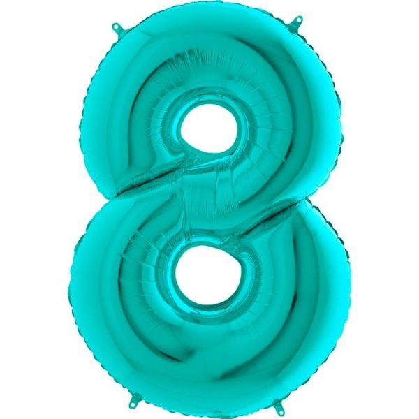 Фольгированный шар тиффани в форме цифры восемь. Размер 1 метр.