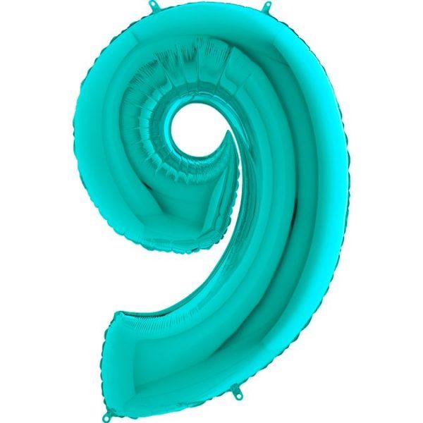 Фольгированный шар тиффани в форме цифры девять. Размер 1 метр.