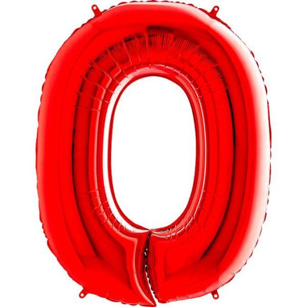 Фольгированный шар в форме цифры ноль красный. Размер 1 метр.