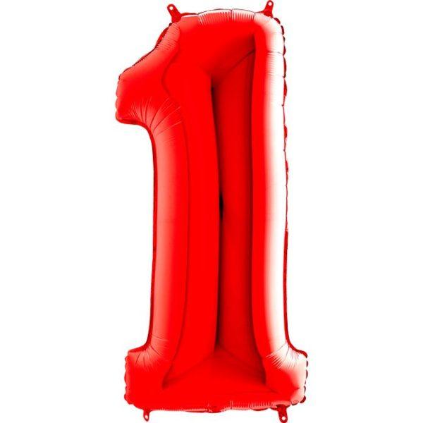 Фольгированный шар в форме цифры один красный. Размер 1 метр.