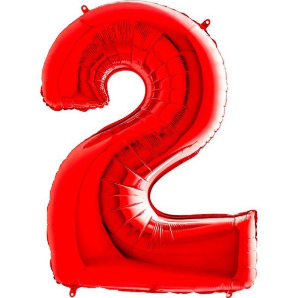 Фольгированный шар в форме цифры два красный. Размер 1 метр.