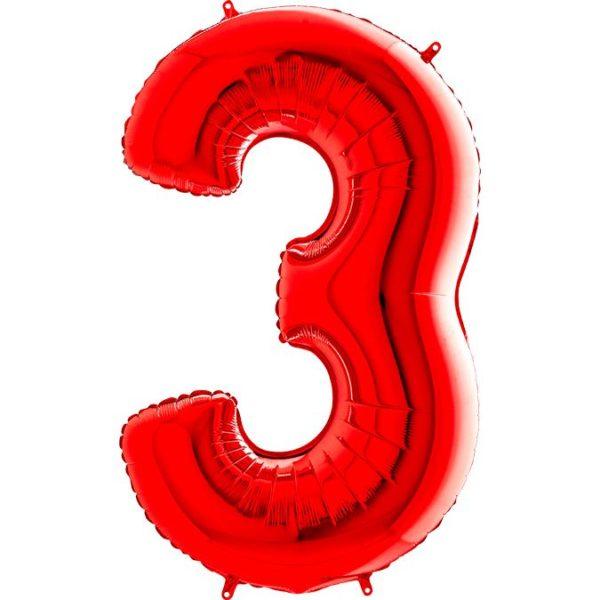 Фольгированный шар в форме цифры три красный. Размер 1 метр.
