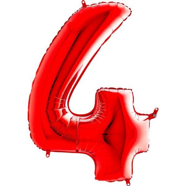 Фольгированный шар в форме цифры четыре красный. Размер 1 метр.
