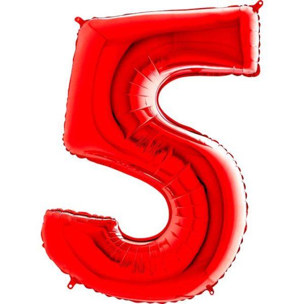 Фольгированный шар в форме цифры пять красный. Размер 1 метр.