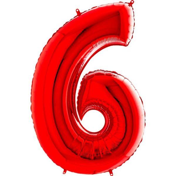 Фольгированный шар в форме цифры шесть красный. Размер 1 метр.