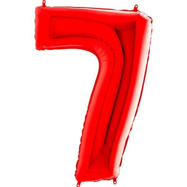 Фольгированный шар в форме цифры семь красный. Размер 1 метр.