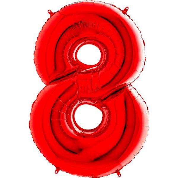 Фольгированный шар в форме цифры восемь красный. Размер 1 метр.