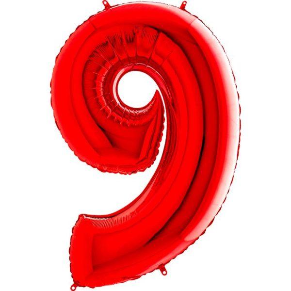 Фольгированный шар в форме цифры девять красный. Размер 1 метр.