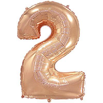 Фольгированный шар в форме цифры розовое золото два. Размер 1 метр.