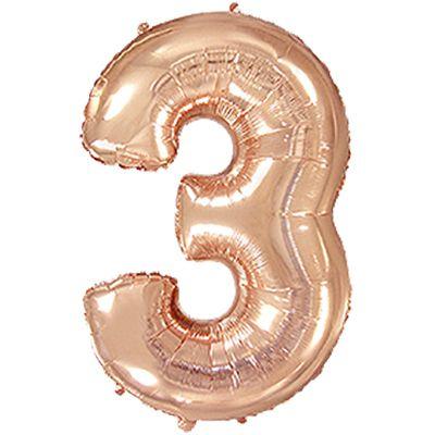 Фольгированный шар в форме цифры розовое золото три. Размер 1 метр.