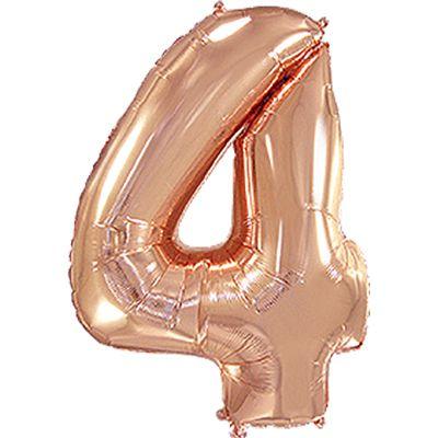 Фольгированный шар в форме цифры розовое золото четыре. Размер 1 метр.