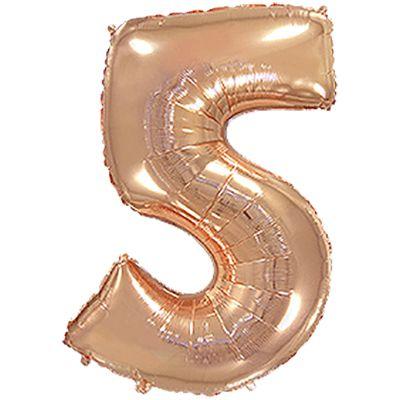 Фольгированный шар в форме цифры розовое золото пять. Размер 1 метр.