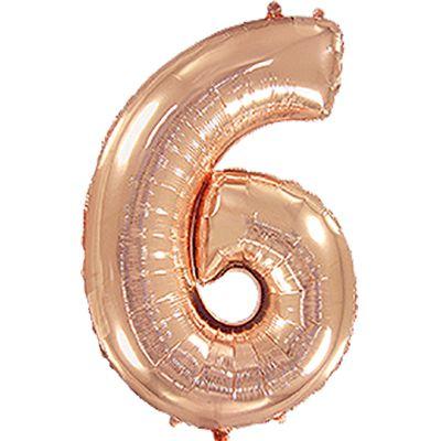 Фольгированный шар в форме цифры розовое золото шесть. Размер 1 метр.
