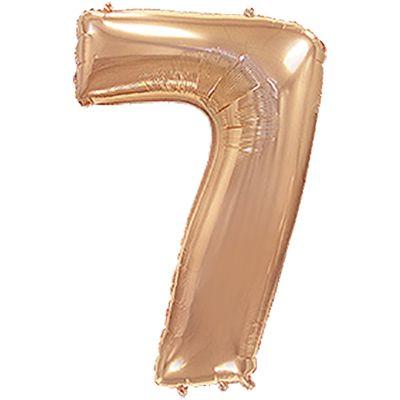 Фольгированный шар в форме цифры розовое золото семь. Размер 1 метр.