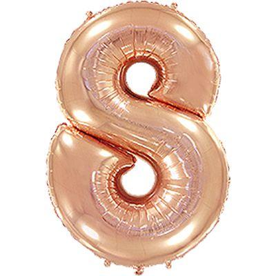 Фольгированный шар в форме цифры розовое золото восемь. Размер 1 метр.