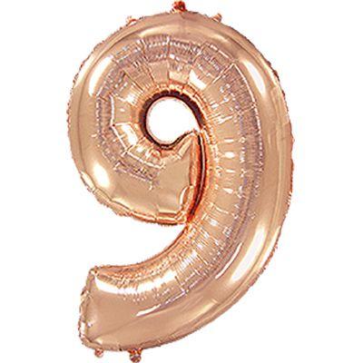 Фольгированный шар в форме цифры розовое золото девять. Размер 1 метр.