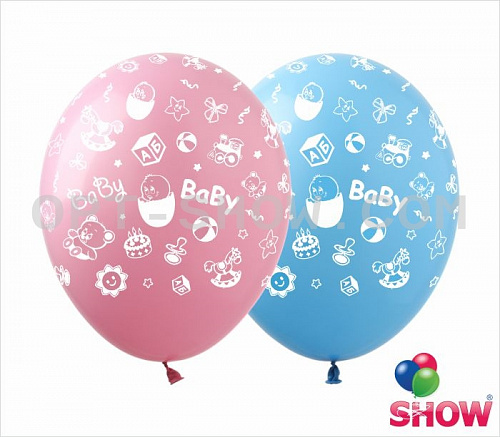 Латексные шарики с рисунком для новорожденных.