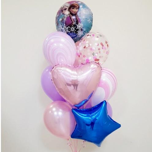 Букет из воздушных шаров с Анной и Эльзой