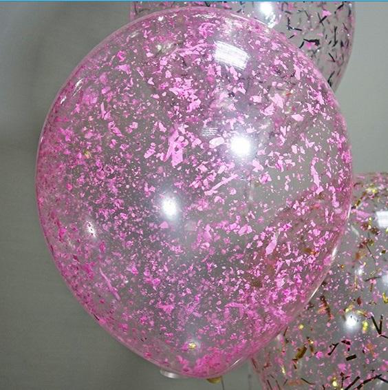 Латексный шарик с розовыми хлопьями