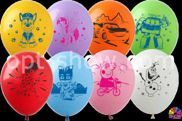 Латексные шарики с рисунком Мультики