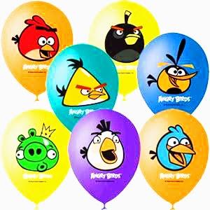 Латексные шарики с рисунком Angry Birds.
