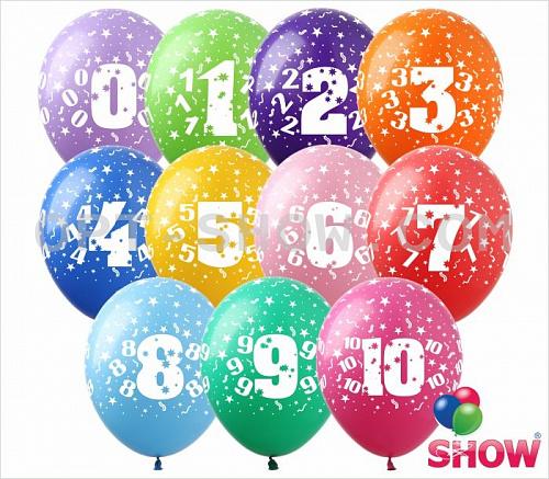 Латексные шарики с цифрами.