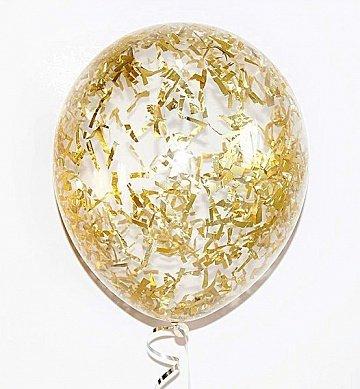 Латексный шарик с золотыми полосками конфетти