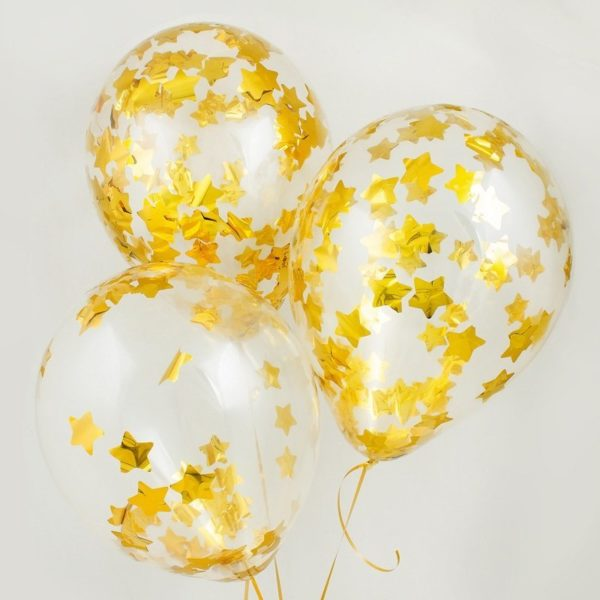 Шарик с золотыми звездами конфетти