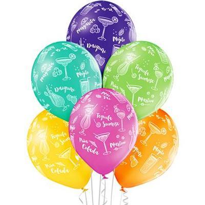 Латексные шарики с рисунком Коктейлей