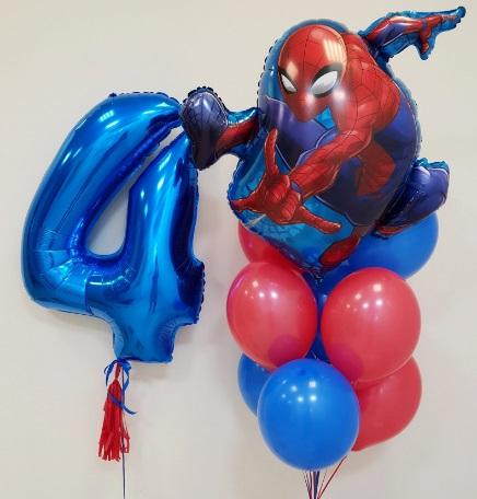Букет из воздушных шаров с Спайдерменом состоит из 11 шариков.