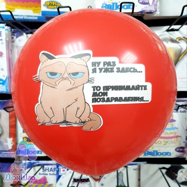 Воздушный шарик с рисунком Grumpy Cat.