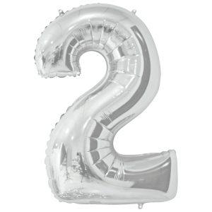 Фольгированный шар в форме цифры два серебристого цвета. Размер - 66 см.