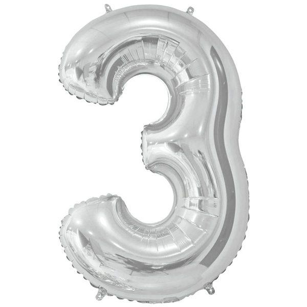 Фольгированный шар в форме цифры три серебристого цвета. Размер - 66 см.