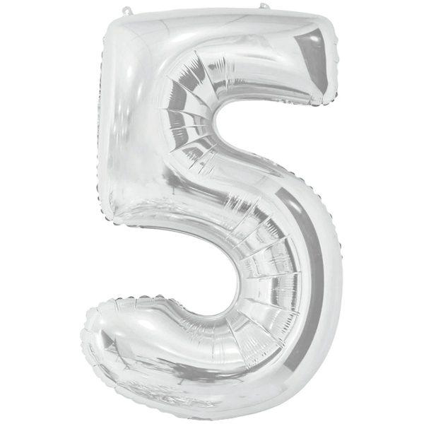 Фольгированный шар в форме цифры пять серебристого цвета. Размер - 66 см.