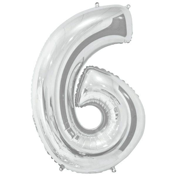 Фольгированный шар в форме цифры шесть серебристого цвета. Размер - 66 см.