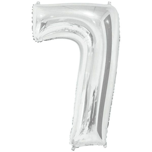 Фольгированный шар в форме цифры семь серебристого цвета. Размер - 66 см.