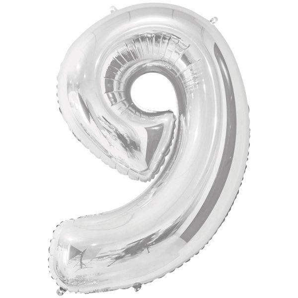 Фольгированный шар в форме цифры девять серебристого цвета. Размер - 66 см.
