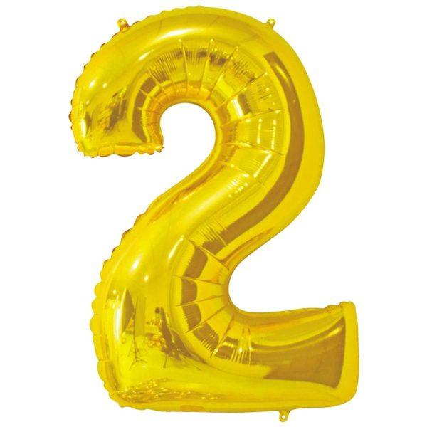 Фольгированный шар в форме цифры два золотистого цвета. Размер - 66 см.