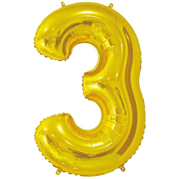 Фольгированный шар в форме цифры три золотистого цвета. Размер - 66 см.