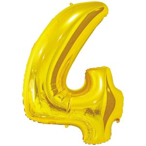 Фольгированный шар в форме цифры четыре золотистого цвета. Размер - 66 см.