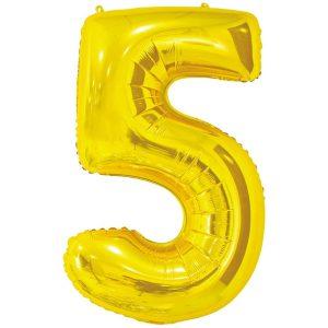 Фольгированный шар в форме цифры пять золотистого цвета. Размер - 66 см.
