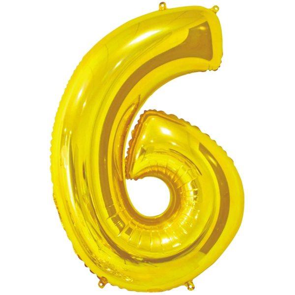 Фольгированный шар в форме цифры шесть золотистого цвета. Размер - 66 см.