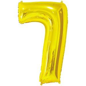 Фольгированный шар в форме цифры семь золотистого цвета. Размер - 66 см.