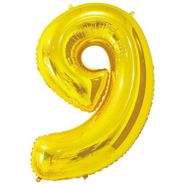 Фольгированный шар в форме цифры девять золотистого цвета. Размер - 66 см.