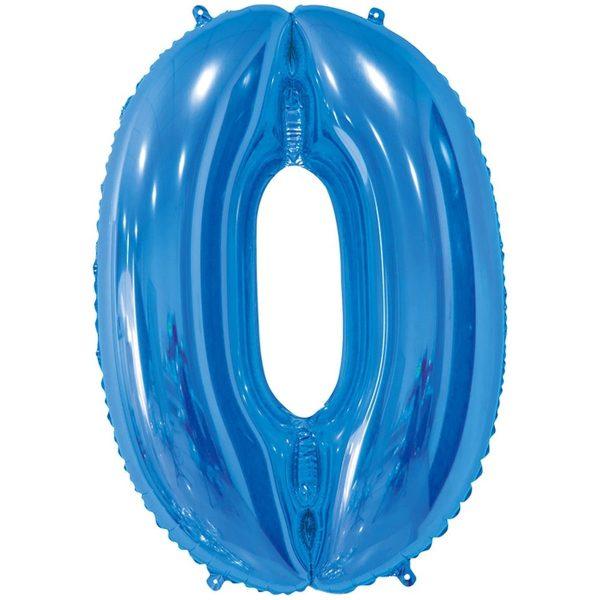 Фольгированный шар в форме цифры ноль голубого цвета. Размер - 66 см.