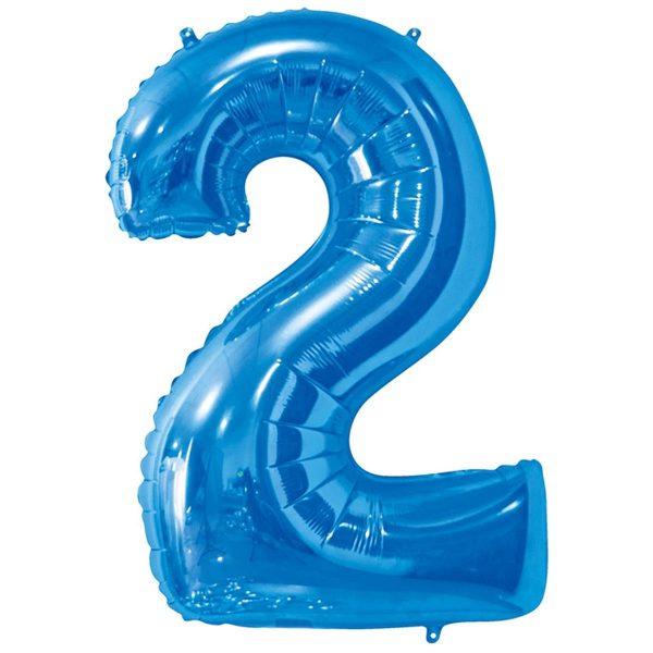 Фольгированный шар в форме цифры два голубого цвета. Размер - 66 см.