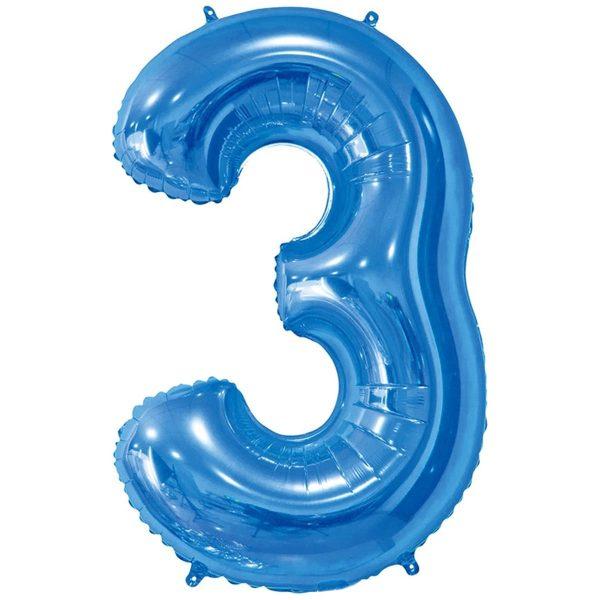 Фольгированный шар в форме цифры три голубого цвета. Размер - 66 см.