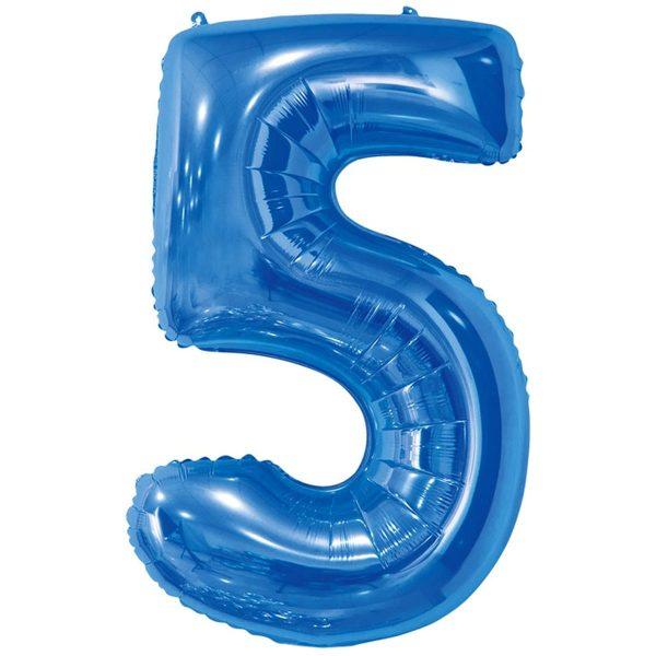 Фольгированный шар в форме цифры пять голубого цвета. Размер - 66 см.